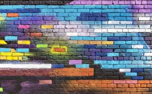 Фотографии Текстура Граффити Из кирпича Стенка