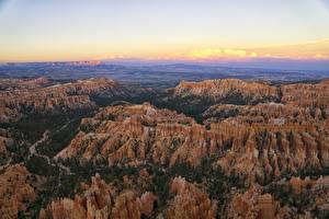 Фото Штаты Парки Пейзаж Скала Сверху Каньоны Bryce Canyon National Park Природа