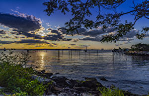 Картинки США Парк Рассветы и закаты Побережье Залива Calvert Vaux Park Brooklyn
