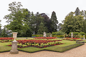 Картинки Великобритания Сады Скульптура Газон Забор Деревьев Waddesdon Manor Природа