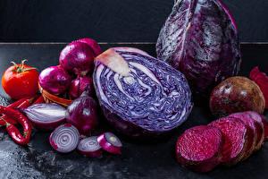 Обои Овощи Капуста Лук репчатый Свекла Помидоры
