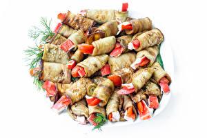 Обои для рабочего стола Овощи Баклажан Белом фоне Delicious eggplant rolls Пища