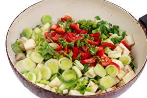 Фото Овощи Сковороде Нарезанные продукты