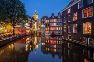 Фотография Амстердам Нидерланды Вечер Дома Водный канал Города