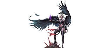 Обои Ангелы Воители Белый фон Крылья Ноги Чулки Красивые ilsu jang Фэнтези Девушки