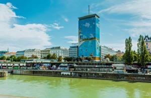 Фотографии Австрия Вена Здания Речка город