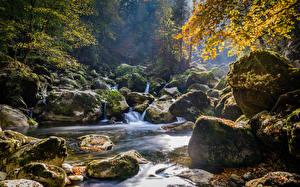 Картинки Осенние Камень Мха Ручеек