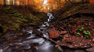 Обои для рабочего стола Осенние Камень Ручей Лист Мхом Природа