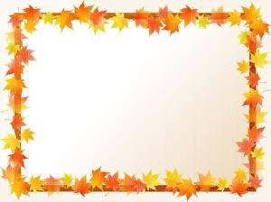 Обои для рабочего стола Осенние Шаблон поздравительной открытки Листва Клёна