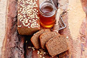 Фото Хлеб Мед Доски Банки Нарезанные продукты Кусочки Еда