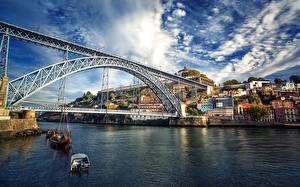 Картинки Мосты Речка Портус Кале Португалия Douro