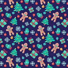 Обои для рабочего стола Рождество Текстура Печенье Новогодняя ёлка Подарок