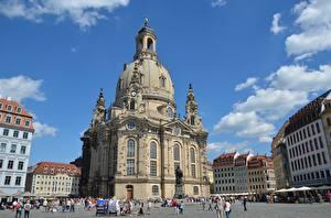 Обои Церковь Дрезден Германия Улице Frauenkirche
