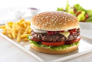 Фото Вблизи Гамбургер Быстрое питание Котлеты Продукты питания