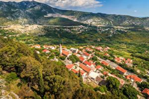 Картинки Хорватия Здания Осенние Холмы Крыше Klis Города