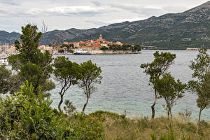 Фотография Хорватия Здания Пристань Залив Деревья Korčula Town Города