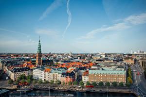 Картинки Дания Копенгаген Здания Пристань Улиц Сверху город