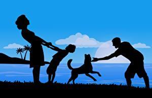 Картинка Собаки Мужчины Мама Векторная графика Силуэт Отдыхает Играет Семья Девушки