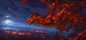 Картинки Дракон Огонь Скелет kerembeyit Фантастика