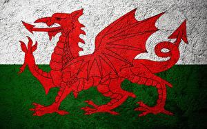 Обои Дракон Великобритания Флаг Уэльс