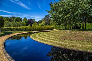 Фото Англия Парки Водный канал Дерево Кусты Дизайн Ascott House Gardens Buckinghamshire Природа