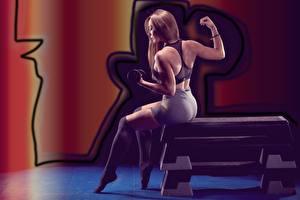 Фото Фитнес Тренируется Шатенки Рука Гантеля Сидящие Ног Гольфах Позирует девушка