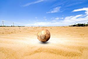 Фотография Футбол Мячик Песок Старая Спорт