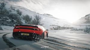 Фотографии Forza Horizon 4 Ламборгини Вид сзади Снеге Красный Huracan by Wallpy компьютерная игра Автомобили
