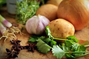 Картинки Чеснок Картошка Лук репчатый parsley Еда