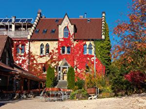 Фотография Германия Осенние Здания Рестораны Уличные фонари Swabian Alps город