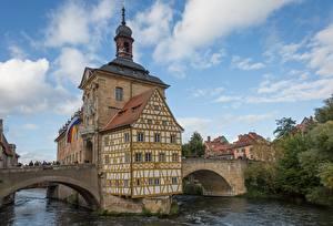Обои Германия Мосты Церковь Бавария Bamberg, river Regnitz