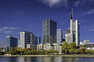 Обои для рабочего стола Германия Франкфурт-на-Майне Здания Реки город