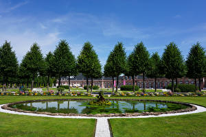 Обои для рабочего стола Германия Парки Фонтаны Дворец Газон Деревьев Schwetzingen Palace Природа