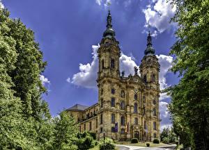 Фотографии Германия Храм Церковь Флага Ветвь Basilika Vierzehnheiligen