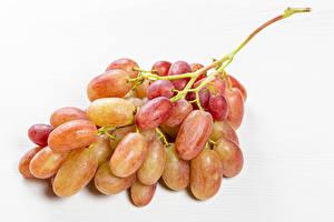 Обои для рабочего стола Виноград Крупным планом Белый фон На ветке Продукты питания