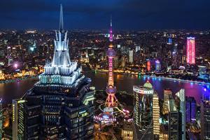 Фотография Здания Небоскребы Китай Шанхай Ночь Мегаполис Города