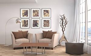 Фотография Интерьер Гостиная Дизайн Стол Кресло Лампа 3D Графика