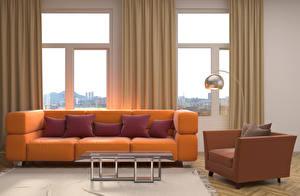 Фотография Интерьер Гостиная Окна Диван Подушка Столы Кресло Дизайн Лампа 3D Графика