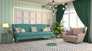 Обои Интерьер Диван Кресло Стола Подушка Ламп Гостиная 3D Графика