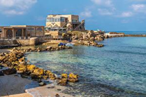 Обои для рабочего стола Израиль Побережье Здания Камень Caesarea город