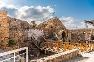 Картинки Израиль Парки Развалины Coliseum at Caesarea National Park Города
