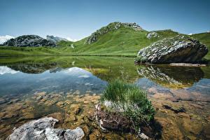 Обои для рабочего стола Италия Гора Озеро Альп Утес Passo Falzarego Природа