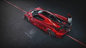 Обои для рабочего стола Koenigsegg Сверху Красные Металлик 2019 Jesko 1600 Cherry Red Edition автомобиль