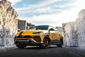Картинки Ламборгини Желтый Металлик Urus 2019 Manhart 800 автомобиль