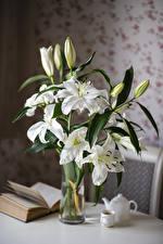 Картинка Лилия Натюрморт Белые Бутон Книги Чашке Цветы
