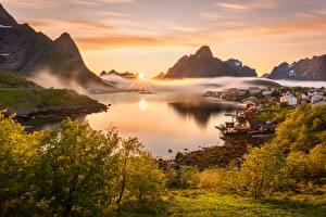 Картинка Лофотенские острова Норвегия Пейзаж Гора Туман Солнца Залив Reine Природа
