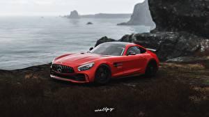 Фотография Mercedes-Benz Forza Horizon 4 Красная AMG 2018 GT R by Wallpy компьютерная игра Автомобили