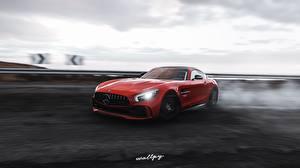 Обои для рабочего стола Мерседес бенц Forza Horizon 4 Красный Едет AMG 2018 GT R by Wallpy машины