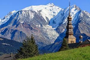Фото Горы Церковь Франция Auvergne Rhône Alpes
