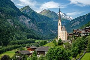 Фотографии Гора Церковь Здания Австрия Альп Heiligenblut Природа